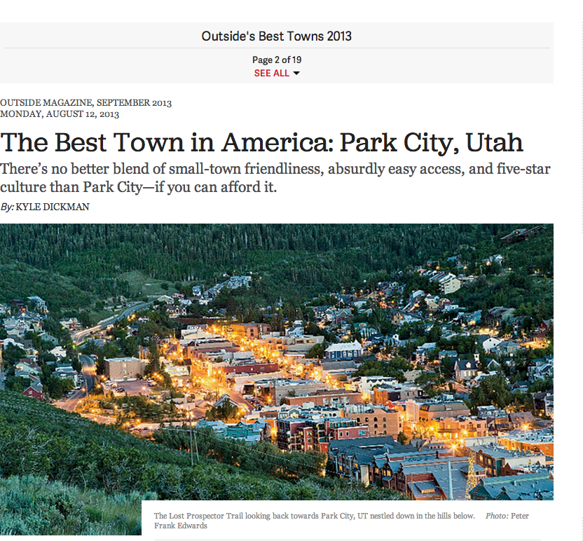 The best town in america park city utah jodykimball 39 s blog for Best city to leave in usa